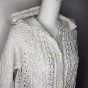 Liz Claiborne Hodeed white hooded buttons sweater